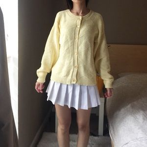 Vintage Knit Sweater Cardigan In Yellow.-P7.